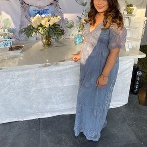 Pink blush maternity dress in blue